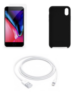 Charging cable + case + glass bundle for iPhone 7 - 12